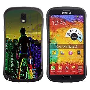 """Pulsar iFace Series Tpu silicona Carcasa Funda Case para Samsung Note 3 , Big City Boy luces de colores Arte de Windows"""""""
