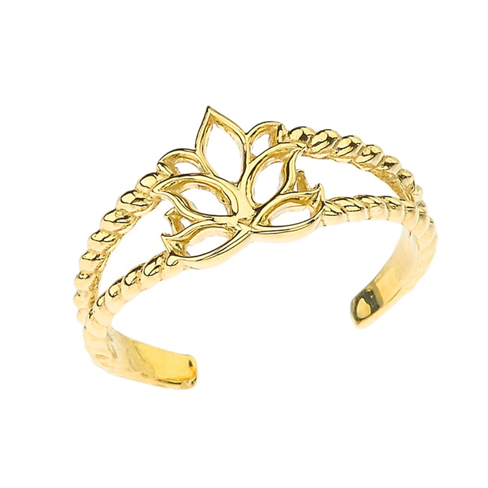 Fine 10k Yellow Gold Lotus Flower Double Rope Toe Ring