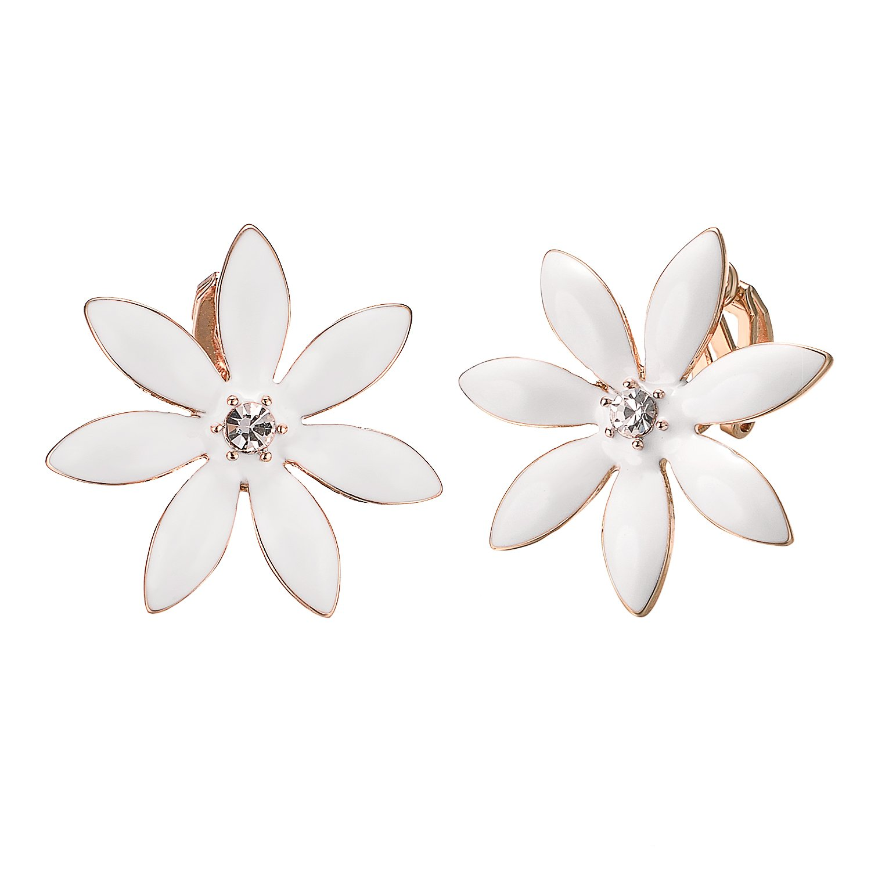 Yoursfs Flower Clip On Earrings for Women Non Pierced Ears Rose Wedding jewelry (White Clip Earrings) … by Yoursfs (Image #1)
