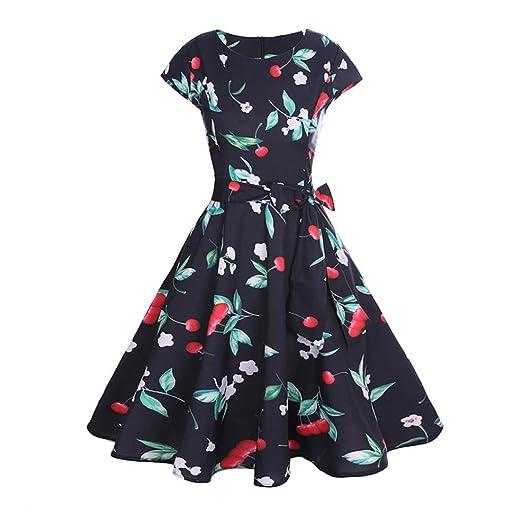 Alixyz Women Swing Dress Cherry Printed Vintage Cap-Sleeve Evening Party Prom Dress (S