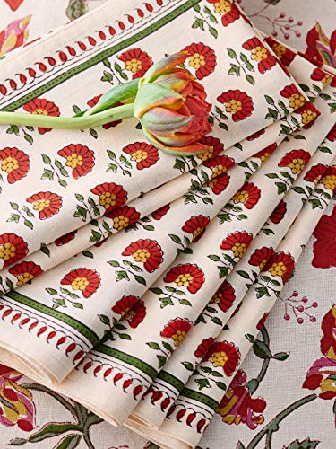 Saffron Marigold Tropical Garden Dinner Napkins | Set of 6 | Premium Grade 100% Cotton | Hand Printed | Red Hibiscus Botanical Cloth Napkins (Hibiscus Premium Womens Antique)