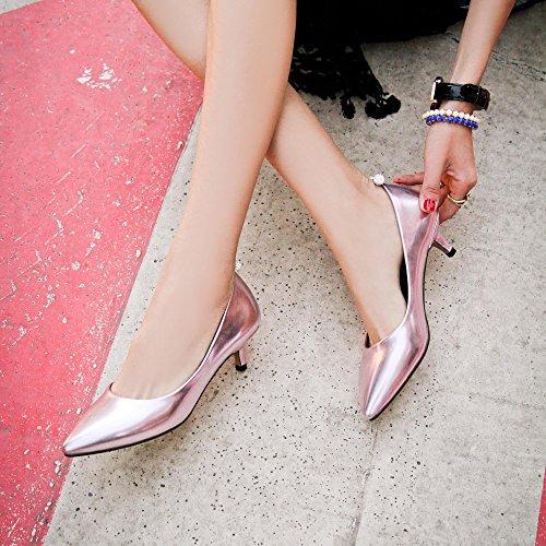 Avec Confotables CM à Femmes Aiguille UH Bout Brillant Metal Elegantes Basse 5 Rose DE Talons Pointu Escarpins Et SwAA81
