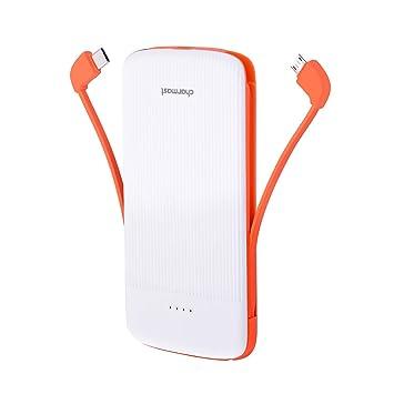Charmast®Batería Externa 10000mAh Cargador Portatil Power Bank con Cable Tipo C & Micro USB Incorporado Doble Puertos de Entrada 5V/2A para iPhone ...