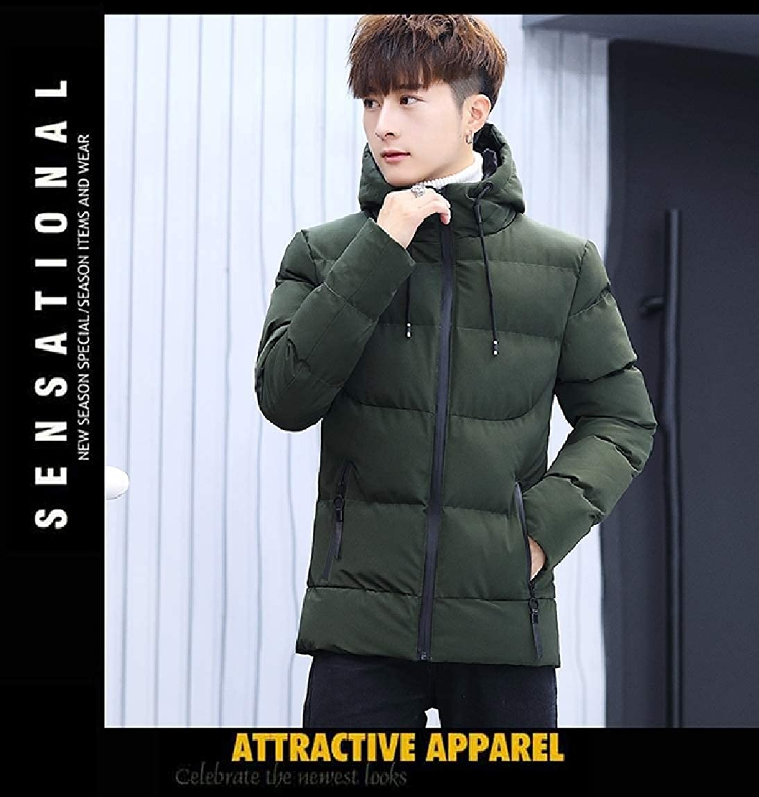 Mfasica Men Hooded Over Sized Cotton Thicken Solid Duffle Coat