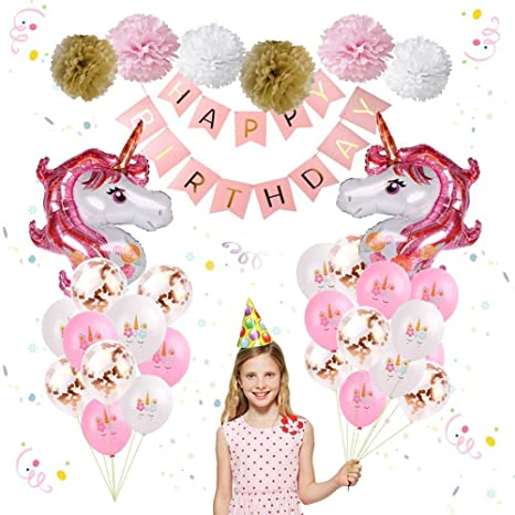 Ieongi Anniversaire Licorne Décoration De Fete Danniversaire De Licorne Balloons Kit Ensemble De 25 Inclus Bannière De Joyeux Anniversaire Or Rose