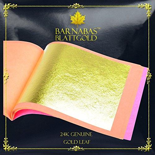 (Genuine Gold Leaf Sheets 24k - by Barnabas Blattgold - 3.1 inches - 25 Sheets Booklet - Loose Leaf)