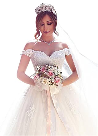 Dressylady Gorgeous Off The Shoulder Appliques Tulle Ball Gown ...