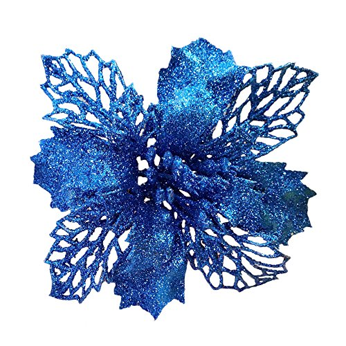 Blue New Glitter Artificial Wedding Christmas Flowers Glitter Poinsettia Christmas Tree Ornaments Pack of 12 (Blue) Flowers Christmas Ornament