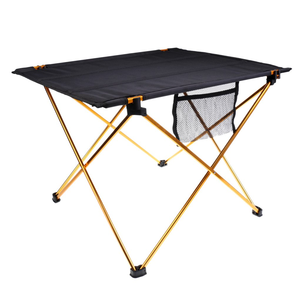 WDFLIFE Picnic Table Camping Folding Desk Lightweight Roll Up Portable Dining Table with Storage Bag Outdoor (Gold)