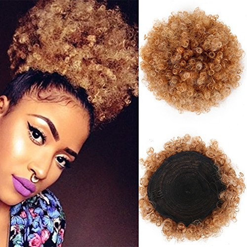 High Puff Afro Ponytail Drawstring Short Afro Kinky Curly Pony Tail Clip in on Synthetic Curly Hair Bun Made of Kanekalon Fiber Puff Ponytail Wrap Updo Hair Extensions with Clips (4/630)