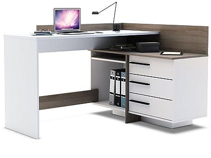 Scrivania Angolo Computer : Scrivania angolare bianco rovere scrivania computer tavolo ufficio