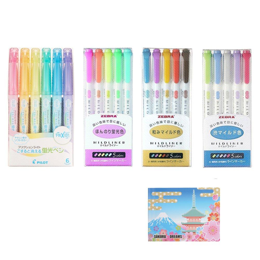 Zebra Double-Sided Highlighter MILDLINER SPECIAL SET (D-set) 3 Packs 15 Colours (WKT7-5C , WKT7-5C-RC , WKT7-5C-NC) , Pilot Frixion Light 6 Soft Color Erasable Pen Set (SFL-60SL-6CS) , Sticky notes