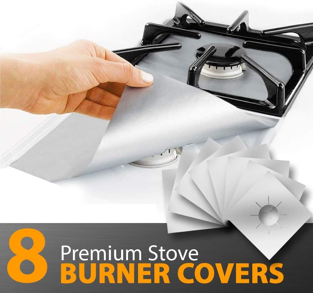 "8 Pack Gas Stove Burner Covers, Stove Burner Covers, Gas Range Protectors, Reusable Non Stick Burner Liners, Heat Resistant Stovetop Guards, Size 10.6""x 10.6"" Double Thickness 0.2mm - Silver"