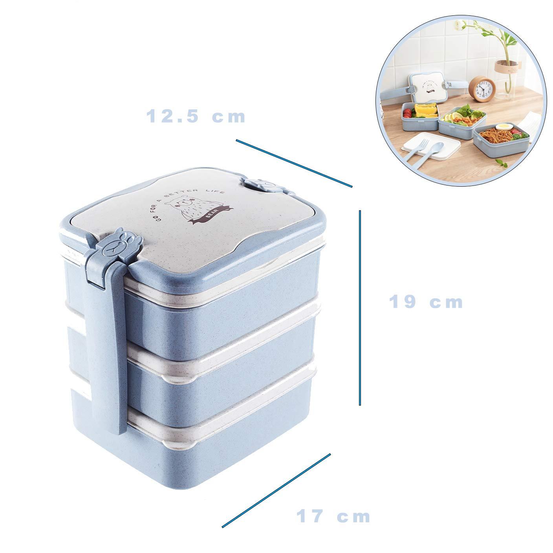 Sunshine smile Fiambrera de 3 Capas,Bento Box Sostenible,microondas y lavavajillas Lunch Box,Bento Box para Ni/ños,Fambrera Infantil,Caja de Almuerzo de Pl/ástico,Fiambreras Bento Azul