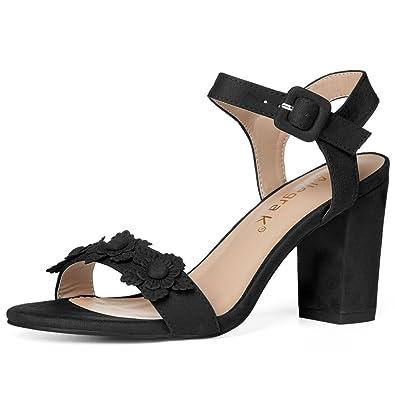 638aeb5710 Allegra K Women's Floral Ankle Strap Chunky Heel Black Sandal - 5.5 ...