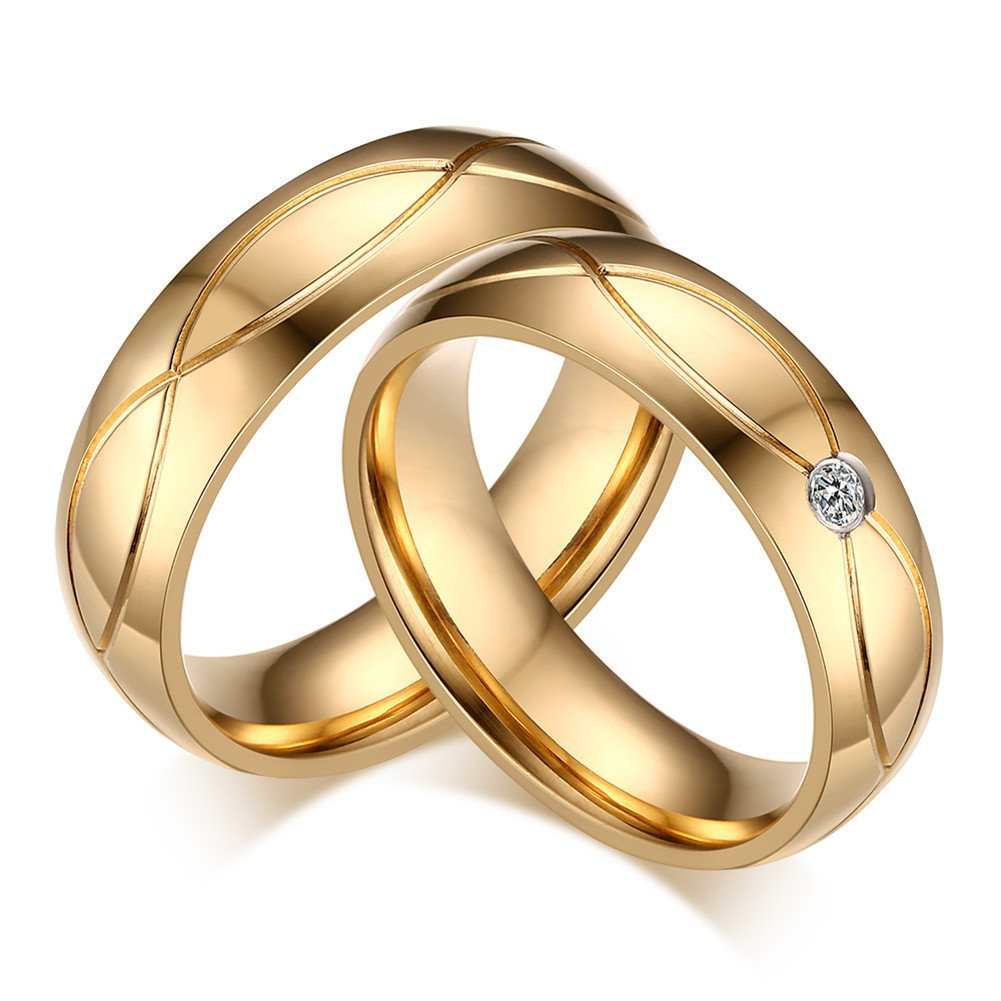 Stainless Steel Gold Plated CZ Couple Ring, Wedding Band Engagement Valentine Lover Gift for Him/Her Vnox Jewelry CR--062