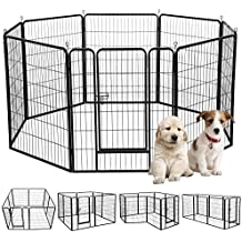 "Yaheetech 39""H 8 Panel Portable Metal Fence Folding Pet Playpen with Door/Gate for Large/Small Animals Outdoor/Indoor Dog/Cat/Puppy/Rabbits Exercise/Play Pen 8 Panels"