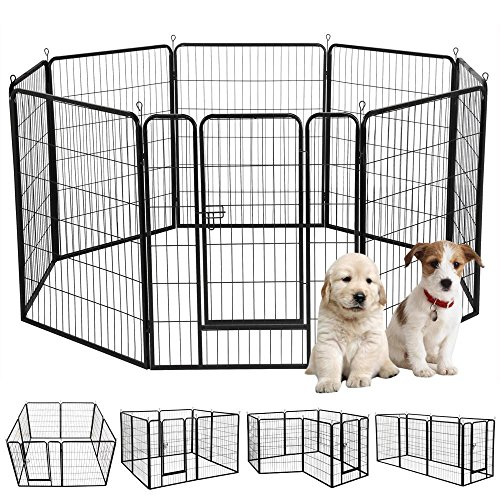 Cheap Yaheetech 39″ H 8 Panel Portable Metal Fence Folding Pet Playpen with Door/Gate for Large/Small Animals Outdoor/Indoor Dog/Cat/Puppy/Rabbits Exercise/Play Pen 8 Panels
