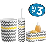 mDesign Bath Accessory Set, Suction Shower Basket, Toilet Bowl Brush and Holder, Wastebasket Trash Can - Set of 3, Gray/Yellow