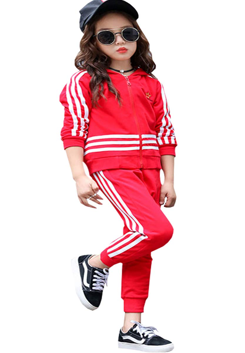 NABER Kids Girls' Fashion Striped Zipper Outerwear Hooded & Sports Pants Age 4-14 Years (Red, 9-10 Years) by NABER