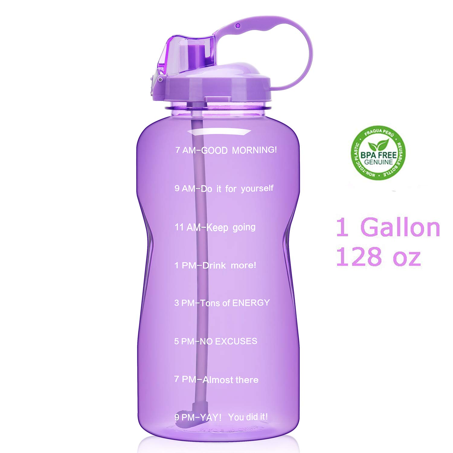 QuiFit 128oz Portable Drinking Straw Daily Water Bottle Sport Water Jug Gallon BPA Free Non Leak Design with Time Marked to Ensure You Drink Enough of Water Throughout The Day(Amethyst)