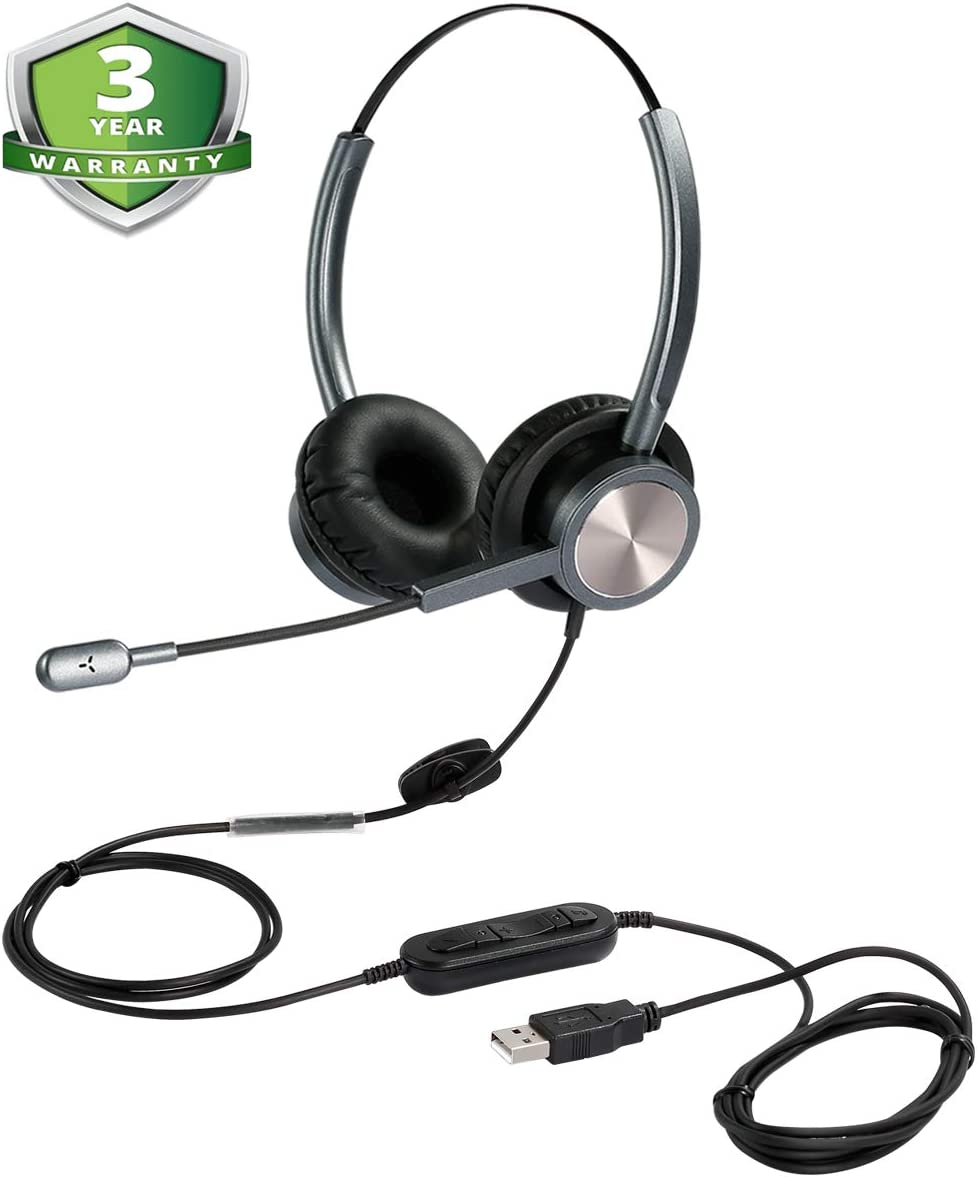 USB Headset with Microphone Noise Cancelling and Volume Controls, Computer Headphone Headset with Voice Recognition Mic for UC Softphones Business Skype Lync Conference Online Course and More