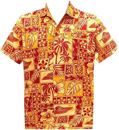 Short Sleeve Front Pocket (La Leela Aloha Hawaiian Tropical Beach Solid Plain Mens Casual Short Sleeves Button Down Tropical Shirts XS Red)