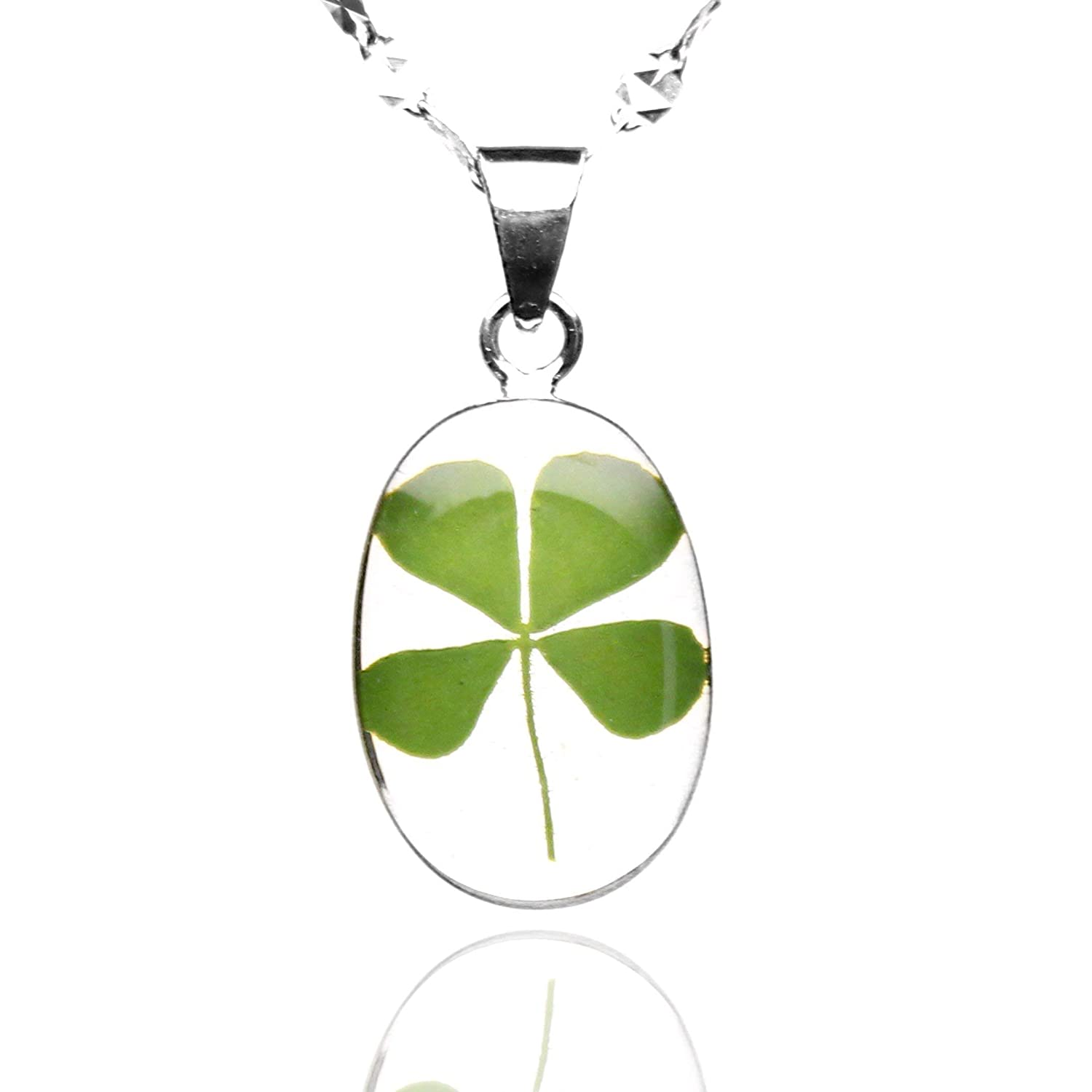 Sterling Silver Necklace by TAMI - Floral Jewelry - with Real Natural Four Leaf Clover Green Shamrock and 17.7 inches .925 Frosty Chain, Good Luck Charm for St Patrick's Day includes Gift Box
