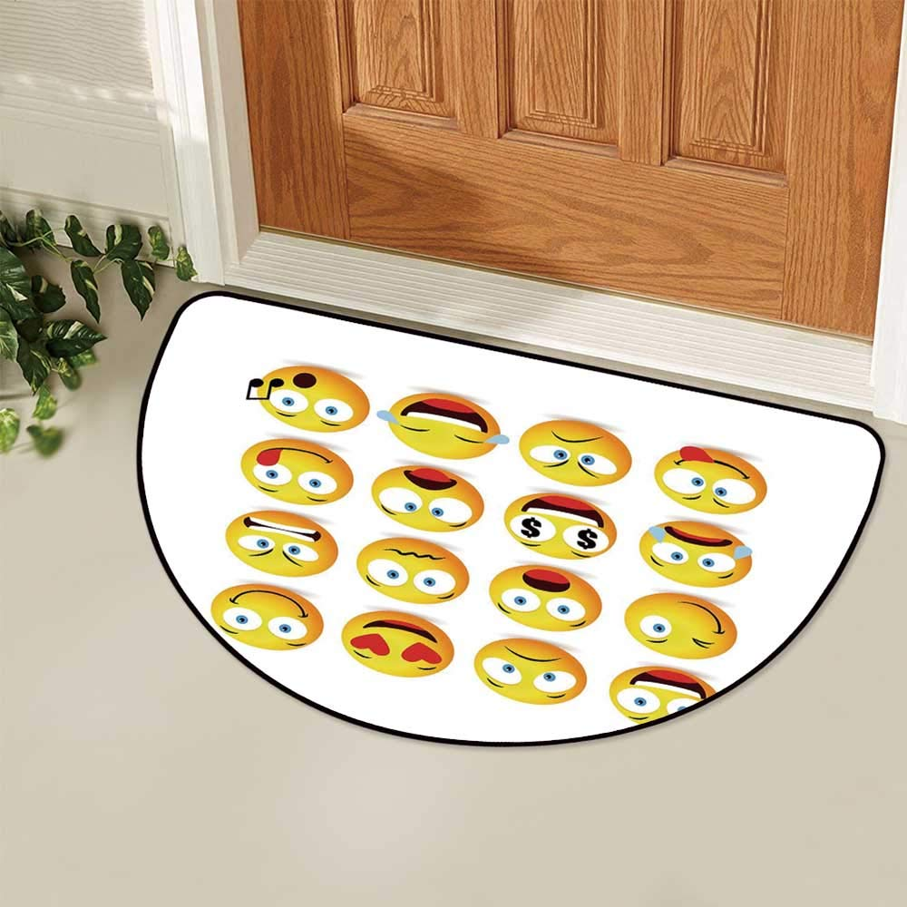 YOLIYANA Emoji Semi Circle Mat,Smiley Faces Collection with Circular Shapes with Various Emotions Singing Angry Carpet Indoor Mat,29.5'' H x 59'' L by YOLIYANA (Image #4)