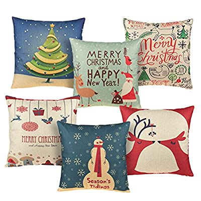 Juvale Set of 6 Throw Pillow Covers - Pillow Cases, Throw Pillow Decor, Holiday Season Decorations for Couch, Chair, Sofa, Assorted Designs