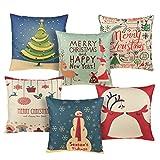 Conjunto de 6Throw fundas de almohada–Fundas de Almohada, manta almohada decoración de Navidad, día festivo de Navidad decoraciones para sofá, silla, sofá, varios diseños–45x 44,5cm
