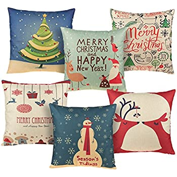 Juvale Christmas Throw Pillow Covers - 6-Pack Colorful Decorative Couch Throw Pillow Cases, Vintage Christmas Illustration Design, Festive Home Decor Cushion Covers, Fits 18 x 18 Pillows