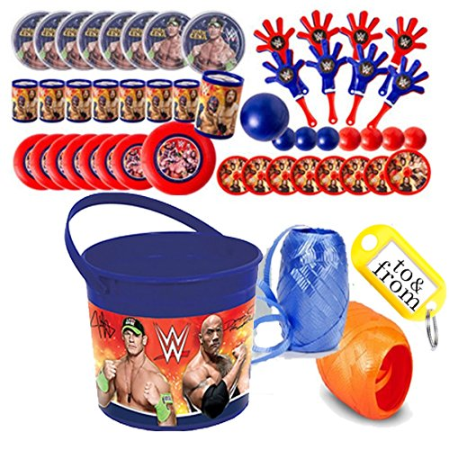 WWE World Wrestling Entertainment (8) Pre-Filled Party Favor Container Buckets! Perfect For Party Giveaways & Gifts! by Spin Master