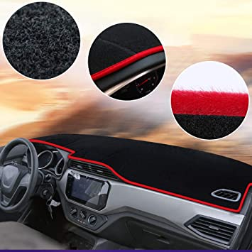Without Navigation Carado Dash Cover Dashboard Cover Mat Pad Fit for 2009-2014 Ford Fiesta Black with red line Sunshield Mat Carpet 1 PCS