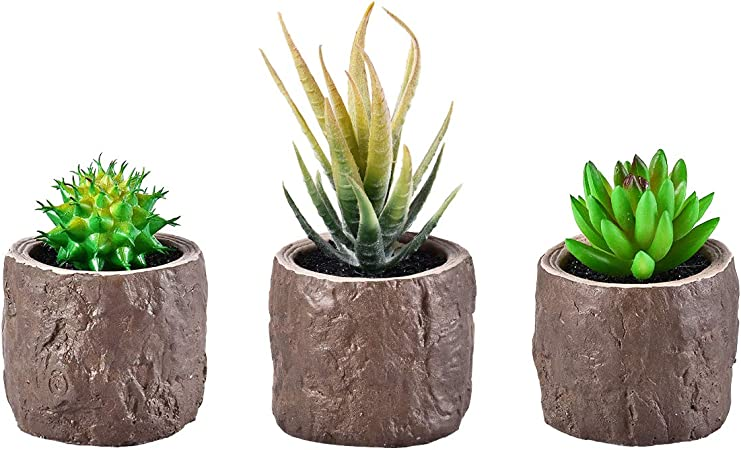 Artificial Fake Succulent Cactus Plant With Faux Cement Planter Pot