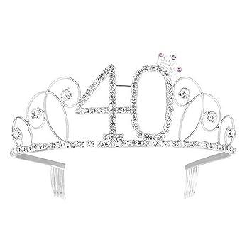 Ouinne Tiara Cristal Cumpleaños Corona Princesa Feliz Cumpleaños de Número 40 Accesorios con Peine