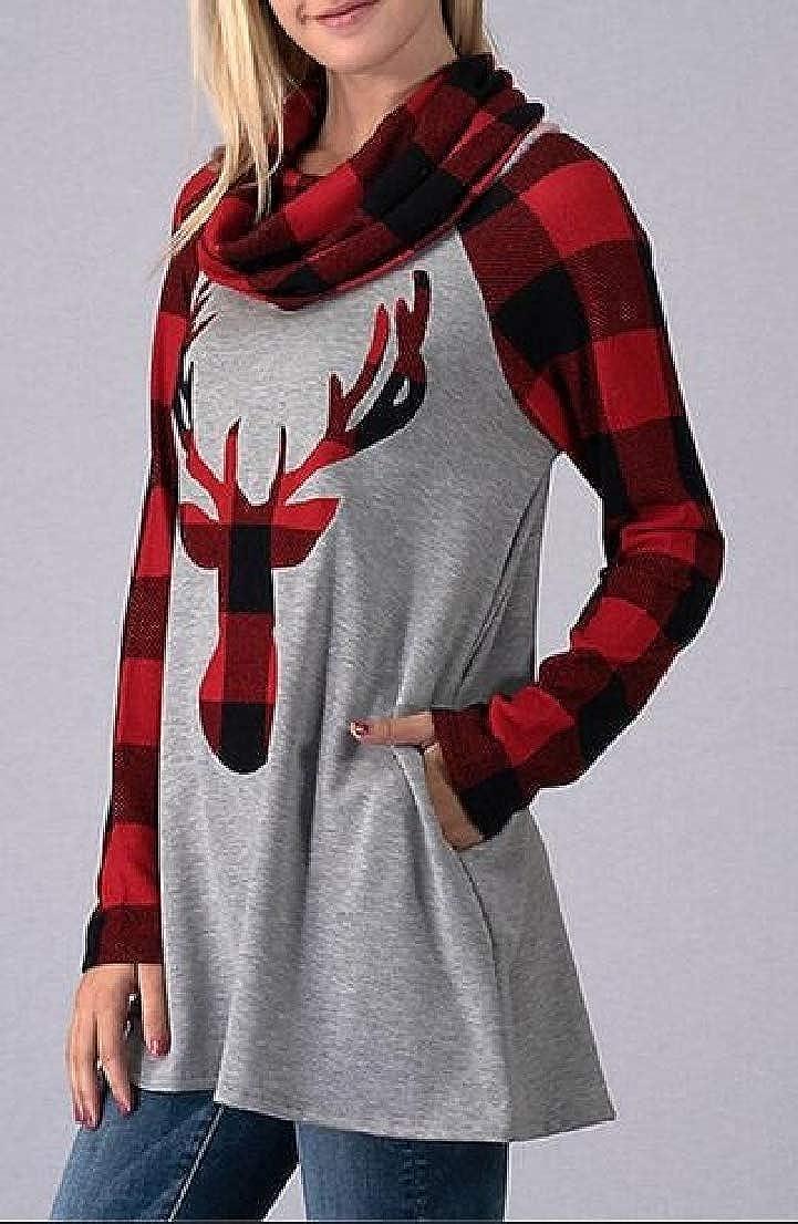 Generic Womens Cowl Neck Plaid Elk Print Loose Long Sleeve Blouse Sweatshirt