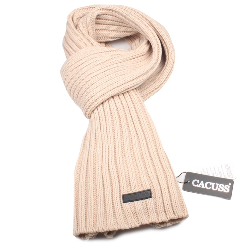 CACUSS Men's Long Thick Cable Cold Winter Warm Scarf Soft Knitted Neckwear(Beige) W0029Beige