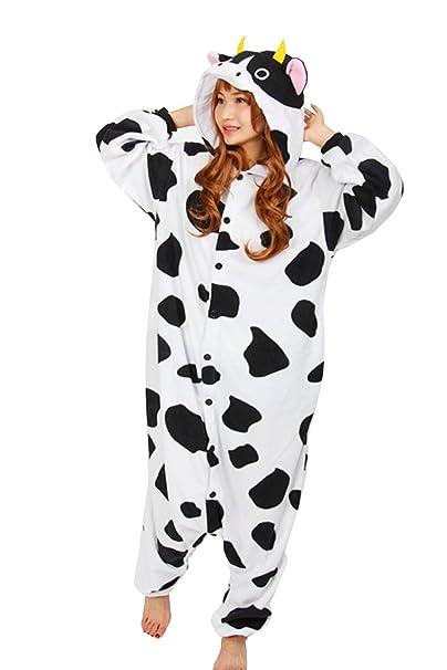brlmall Unisex adulto pijama – Vaca de peluche Onesie Cosplay kigrumi Animal Festival disfraz
