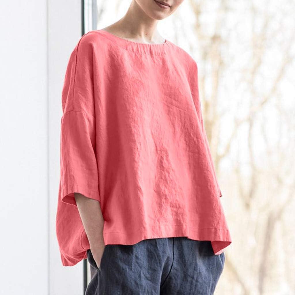 PARVAL Damas Camiseta de algod/ón de Lino Mujeres Bat Manga Corta Casual Tops Sueltos Secci/ón Delgada Blusa Camiseta Su/éter