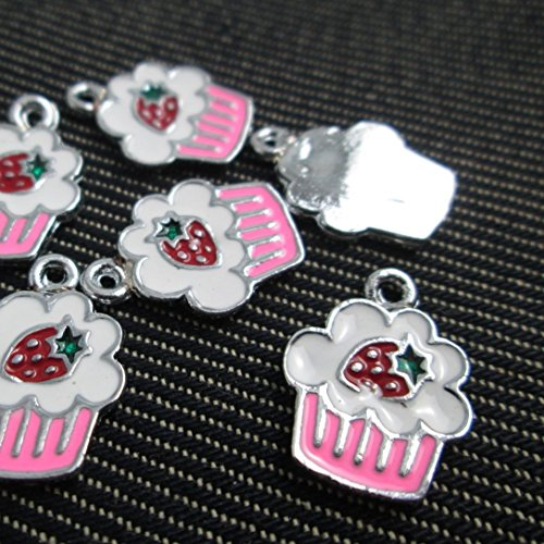 (6 Cupcake Enamel Charms Pink & White Necklace Bracelet Bangle Anklet Earrings Miniature Sweets Charm)