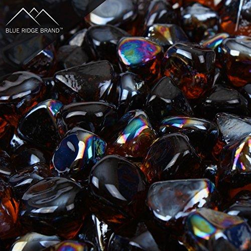 Blue Ridge Brand™ Amber Reflective Fire Glass Diamonds - 10 Pound Professional Grade Fire Pit Glass - 1