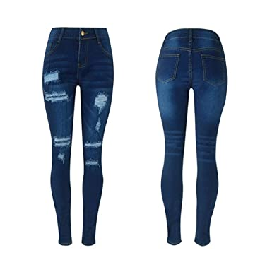 ee33fb246a9 Image Unavailable. Image not available for. Color  Rambling Womens Denim  Ripped Destroy Blue Denim Pencil Pants Stretch Cotton Skinny Slim Trousers  Jeans