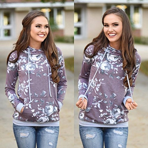 Barlver Women's Casual Hoodies Long Sleeve Sweatshirts Cowl Neck Floral Printed Hooded Pullover Top with Pockets by Barlver (Image #4)