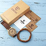 CUCOL Mens Wooden Watches Brown Genuine Cowhide Leather Strap Japanese Quartz Movement with Gift Box