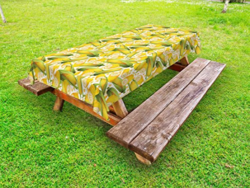 Ambesonne Corn Outdoor Tablecloth, Vegetable Organic Food Realistic Illustration Yellow Corn Stalks Agriculture, Decorative Washable Picnic Table Cloth, 58 X 84 Inches, Yellow Green White]()