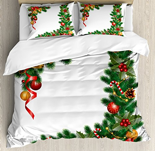 - Ambesonne Christmas Queen Size Duvet Cover Set, Noel Ornaments Themed Fir Tree with Ornaments Classical Year Concept Print, Decorative 3 Piece Bedding Set with 2 Pillow Shams, Multicolor