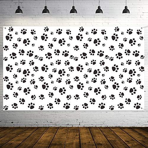 Paw Print Party Decorations Puppy Dog Paw Print Banners, Large Fabric Pet Paw Print Sign Poster for Pet Party Supplies, Pet Treat Party Photo Booth Backdrop Background Banner, 73 x 43 Inches