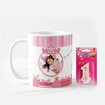Dream Gifts 1st Happy Birthday Personalized Photo Mug Candle Gift