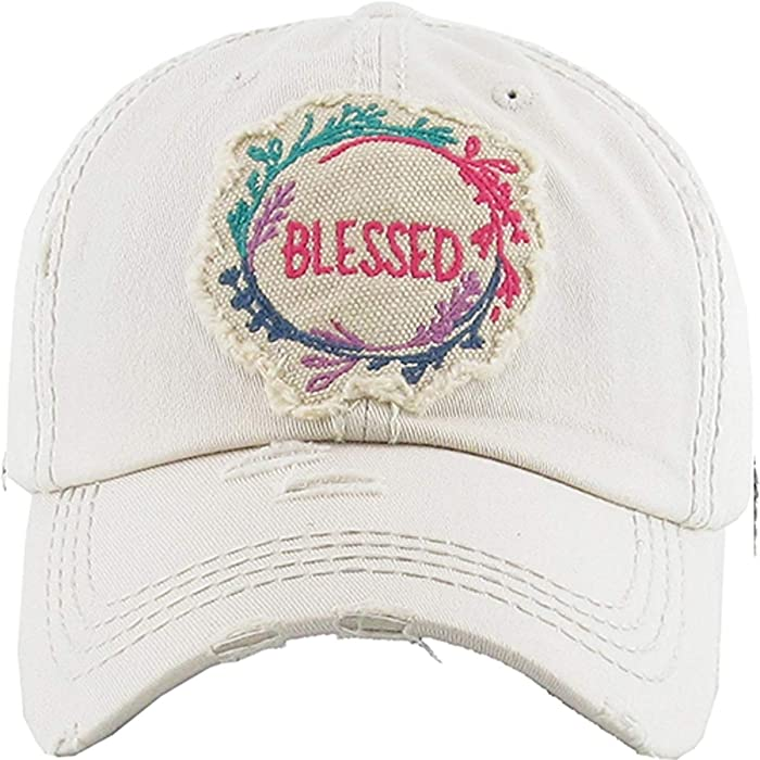 Kbethos Trading Women s Blessed Vintage Baseball Hat Cap (Stone) at ... 3eb4a95c3e